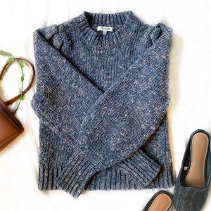 Madewell Pleat-Shoulder Pullover Sweater - yarn